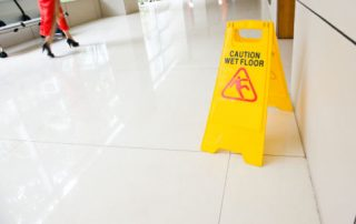 Polished floors can be slippery even in dry conditions.