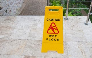 Outside stairs can be slick in wet conditions.